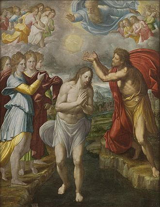 Historicity of Jesus - The criterion of embarrassment has been used to argue for the historicity of the baptism of Jesus, shown here in The Baptism of Christ by Juan Fernández Navarrete.