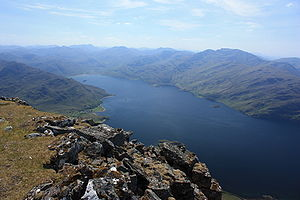 Beinn Sgritheall - The view south east from the summit of Beinn Sgritheall with Loch Hourn and the mountains of Knoydart visible.