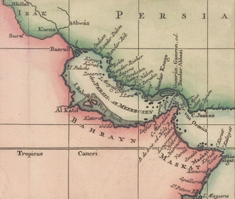 A 1745 Bellin map of the historical region of Bahrain Bellin - Karte von der Kuste von Arabien c.1745 (crop).png
