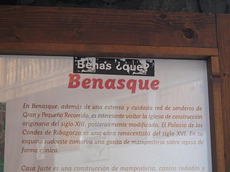 "Benasque - A sticker in Benasque, saying ""Benas ¿que?"", meaning ""Benas what?"". ""Benasque"" is the Spanish name of the town, while the name in the local dialect is ""Benás""."