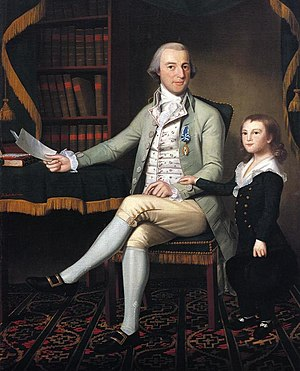 Culper Ring - Colonel Benjamin Tallmadge, leader of the Culper Ring, in a 1790 portrait with his son William