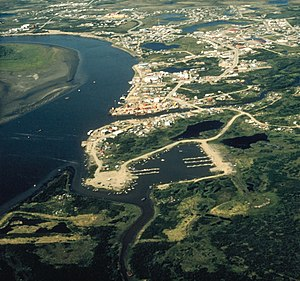 Yup'ik - Aerial view of Bethel on the Kuskokwim River. Bethel (Mamterilleq) is regional hub of Yup'ik homeland.