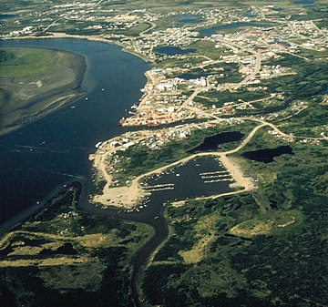 Bethel, the largest city in the Unorganized Borough and in rural Alaska Bethel Alaska aerial view.jpg