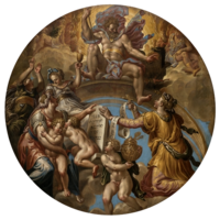 circular painting with multiple figures