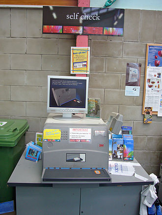 Birkenhead Public Library - Welcome to the self-issue machine. First introduced to Birkenhead Library in 1995, this is a later version.