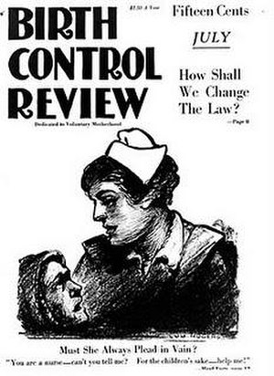 "Birth Control Review - Cover of Birth Control Review July 1919 with cartoon image by Lou Rogers, ""Must She Always Plead in Vain?"""