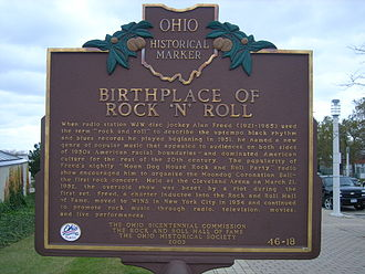 Sign commemorating the role of Alan Freed and Cleveland, Ohio, in the origins of rock and roll Birthplace of Rock 'N' Roll.jpg