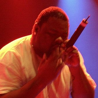 Biz Markie is noted for his beatboxing skills. He is holding the mic close to his mouth, a technique beatboxers use to imitate deep basslines and bass drums, by exploiting the proximity effect. Biz Markie at Amager Bio 6 (Ausschnitt).jpg