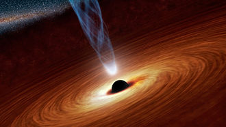Black hole - Black hole with corona, X-ray source (artist's concept).