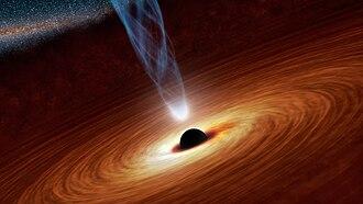 Black hole - Black hole with corona, X-ray source (artist's concept).