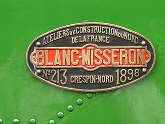 ANF Industrie - ANF builders plate on preserved tram locomotives N°60 of the Tramways de la Sarthe