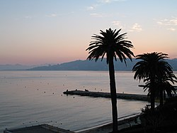 Evening view on the Mediterranean Sea from Juan-Les-Pins