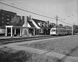 Shaker Heights, Ohio - A Blue Line streetcar at the Lynnfield station. This style of car, the PCC streetcar, was replaced in 1981 with the Breda LRV car.