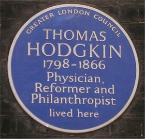 Thomas Hodgkin - Blue plaque in Bedford Square, London.
