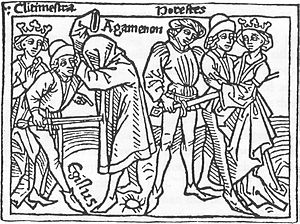 Horestes - Illustration from a 1473 edition of Boccaccio's On Famous Women of the revenge of Horestes.