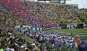2008 Boise State Broncos football team - Boise State sideline and fans in Autzen Stadium.