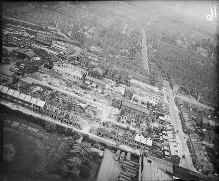 The extent of damage caused to a London residential area due to single V-2 strike in January 1945 Bomb Damage in London, England, April 1945 CH15111.jpg