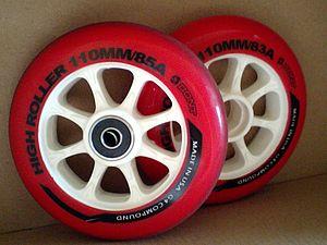 English: Two inlineskates wheels; Bont High Ro...