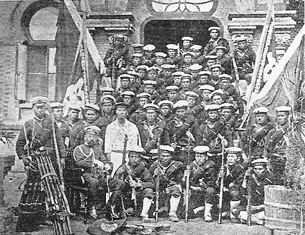 Japanese marines who served under the British commander Edward Hobart Seymour. BoxerJapaneseMarines.jpg