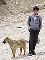 Boy with Sheepdog - Village of Laza - Caucasus Mountains - Azerbaijan (18030742118).jpg