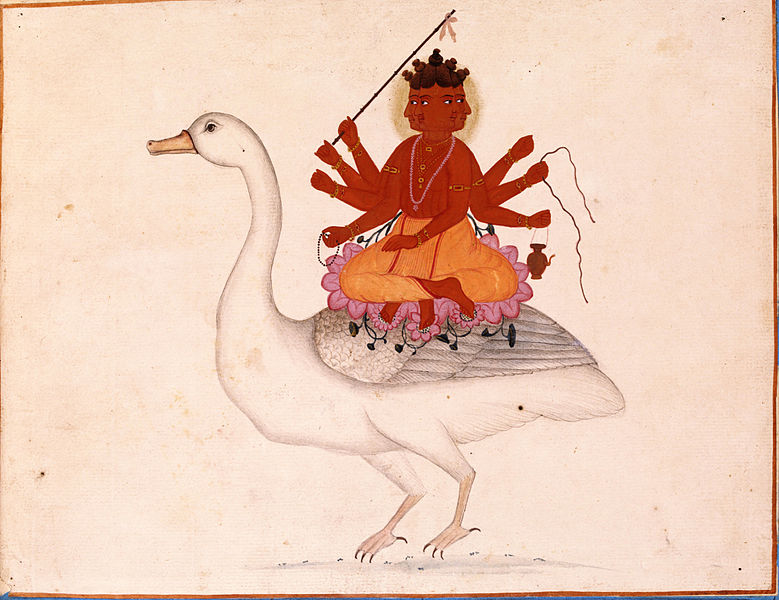 File:Brahma riding on his goose.jpg