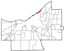 Location of Bratenahl in Cuyahoga County