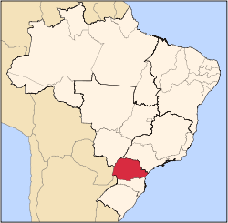 Location of State of Paraná in Brazil