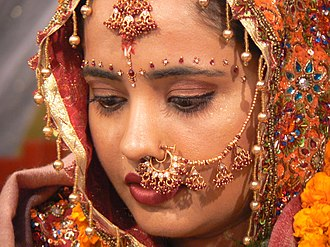 Nose chain - Indian bride wearing a nose chain