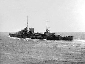 British light cruiser HMS Leander (75) underway at sea in 1945.jpg