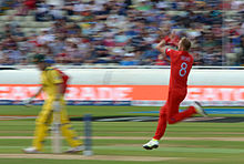 Broad Comes In To Bowl During The England V Australia Game Of 2013 ICC Champions Trophy At Edgbaston