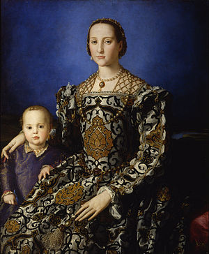 Pedro Álvarez de Toledo, Marquis of Villafranca - Eleanor of Toledo, daughter of  marquis Pedro Álvarez de Toledo, Viceroy of Naples, 1532- 1553, was the wife, since 1539,  of Cosimo I de' Medici, Duke of Florence. Portrait by Angelo Bronzino, oil on wood, 115x96 cm. Galleria degli Uffizi, Florence