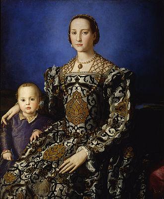 Bronzino - Eleonora di Toledo col figlio Giovanni, 1544–45, oil on wood, Uffizi Gallery, Florence