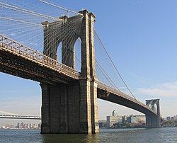 The famous Brooklyn Bridge connects Brooklyn and Manhattan.