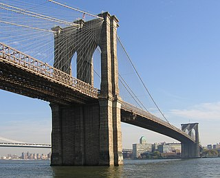 Hybrid cable-stayed/suspension bridge across the East River between Manhattan and Brooklyn, New York