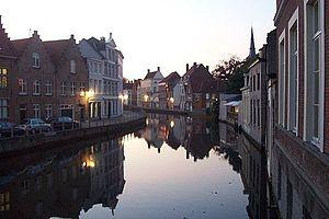 Bruges - Canal in Bruges at dusk