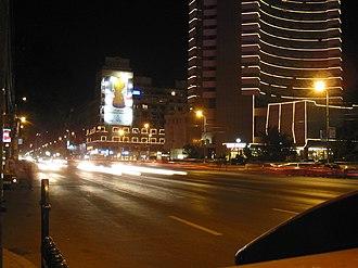 Transport in Bucharest - Magheru Boulevard at night