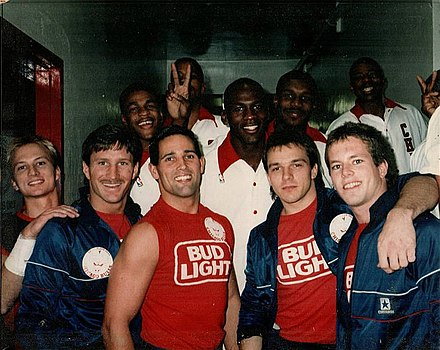 Jordan (center) in 1987 BudLightDaredevils and Michael Jordan.jpg