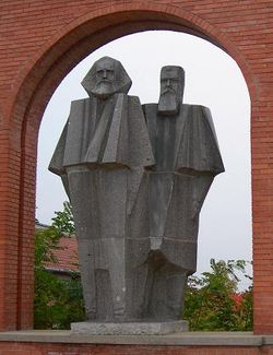 Statue of Marx and Engels in the Statue Park, Budapest.