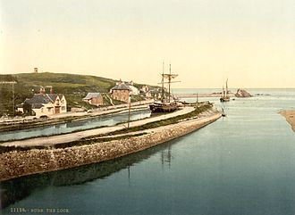 Bude Canal - The sea lock at the end of the 19th century