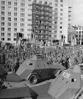 Combat Groups of the Working Class - Garant 30k SK-1 belonging to the East Berlin KdA in Karl-Marx-Allee on 23 August 1961.