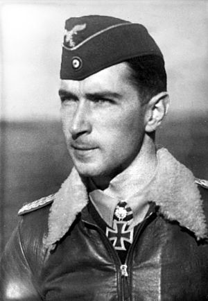 Uniforms of the Luftwaffe (1935–45) - Werner Mölders wears an Officer's M35 Flying Cap (Fliegermütze), also called (side cap)