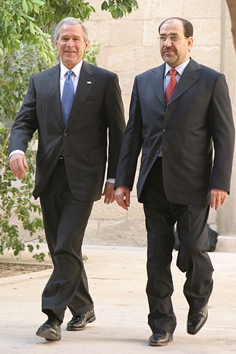 Nouri al-Maliki meets with George W. Bush, June 2006 Bush and al-Maliki.jpg