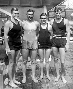 Buster Crabbe, George Kojac, Ray Ruddy, Johnny Weissmuller 1928.jpg