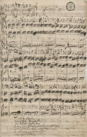 Bach cantata - Autograph of a soprano aria in cantata ''Herr, gehe nicht ins Gericht mit deinem Knecht'', BWV 105