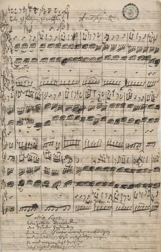 Bach cantata - Autograph of a soprano aria in cantata Herr, gehe nicht ins Gericht mit deinem Knecht, BWV 105