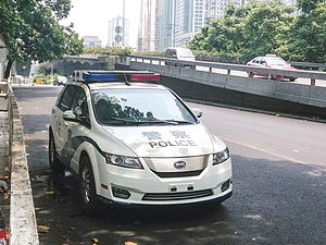 BYD e6 - BYD e6 electric police car in Shenzhen, China.