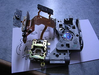 CD-ROM - A view of a CD-ROM drive's disassembled laser system