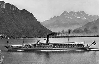 Lake Geneva - CGN paddle steamer in 1926 near Vevey with the Dents du Midi in background