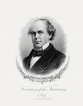 Bureau of Engraving and Printing portrait of Chase as Secretary of the Treasury CHASE, Samuel P-Treasury (BEP engraved portrait).jpg