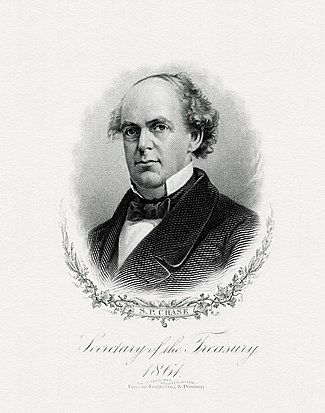 BEP engraved portrait of Salmon P. Chase, sixth Chief Justice of the United States, 1864 – 1873